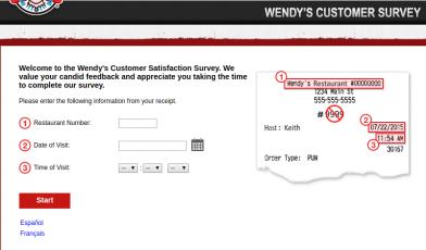 Wendy s Customer Survey