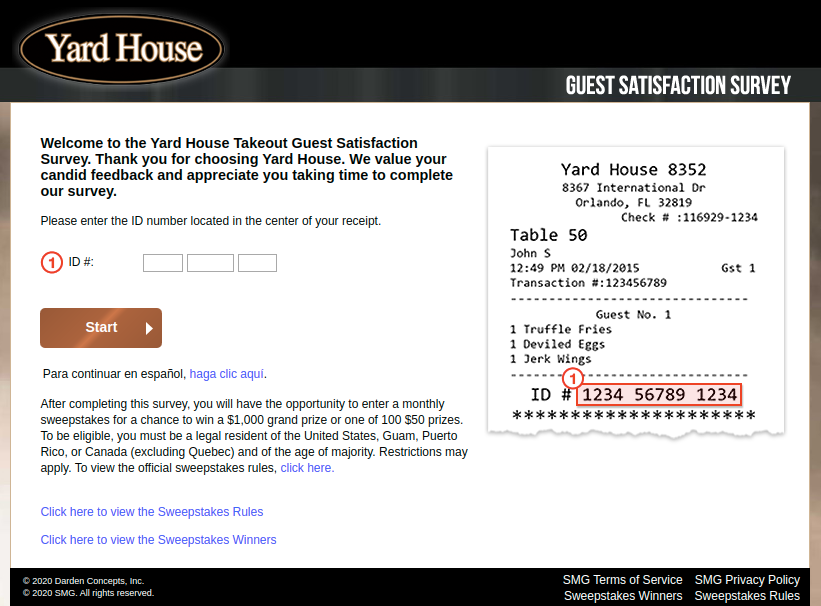 Yard House To Go Guest Satisfaction Survey