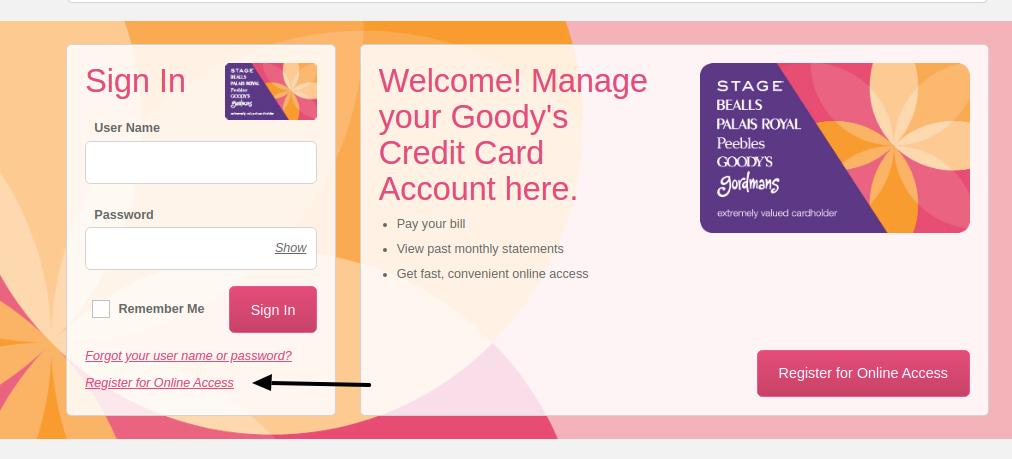 Goodys Credit Card Register