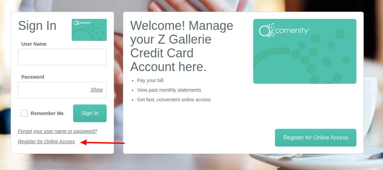 Z Gallerie Credit Card Register