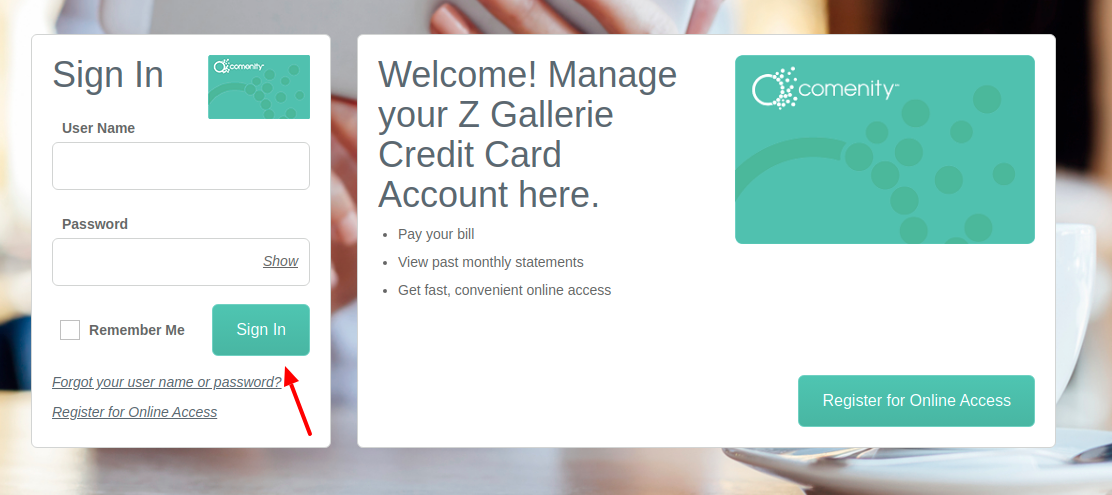 Z Gallerie Credit Card Sign In